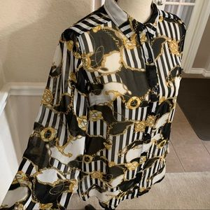 Forever 21 Black/gold chain print long sleeve top